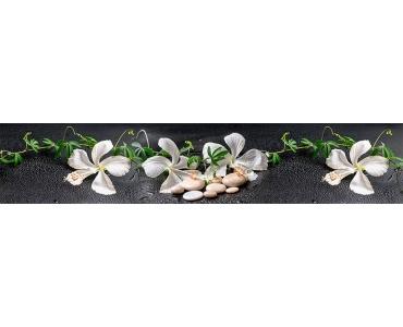 Фартук - белые цветы и камни дзен серый фон