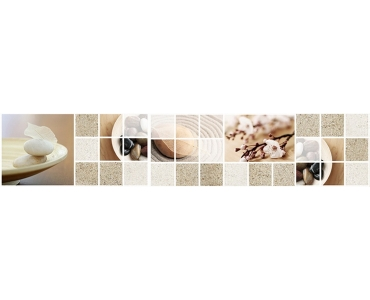 Фартук - белые цветы песок и камни дзен коллаж
